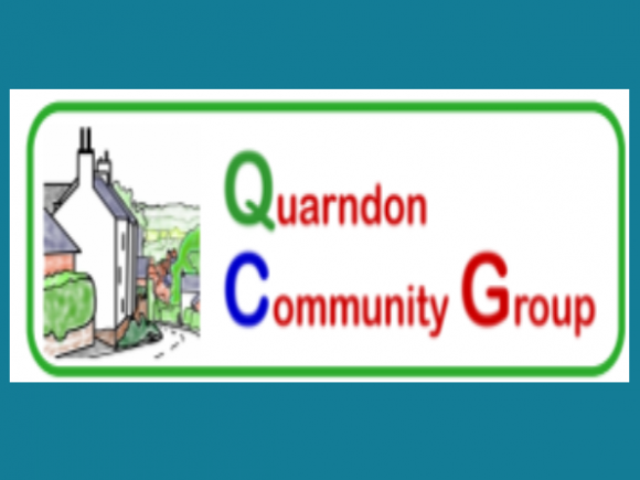 Quarndon Community Group logo on teal background